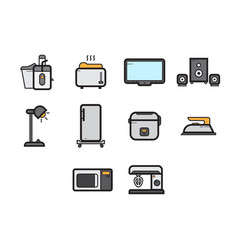 flat color home appliances icon set vector image vector image