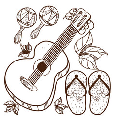 guitar maracas beach flip flops outline drawing vector image vector image
