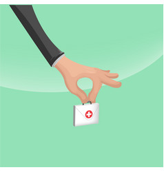 hand hold hospital small bag vector image vector image