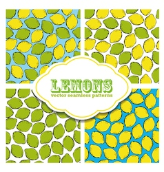 Lemon colored doodle seamless pattern vector