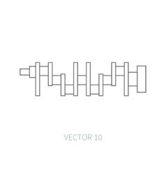 Line flat icon car repair part crankshaft vector