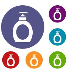 Liquid soap icons set vector