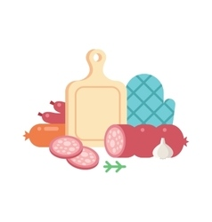 Meat cutting set vector image