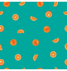 Orange with peel and orange silce seamless pattern vector image