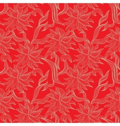 Red seamless pattern with floral ornament vector image vector image