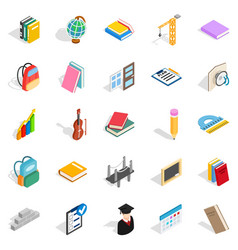 School program icons set isometric style vector