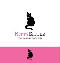Sitting cat logo vector