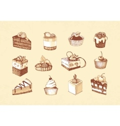 Sketches of cupcakes berry pie and chocolate vector image vector image