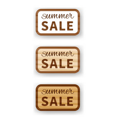summer sale wooden billboard vector image vector image