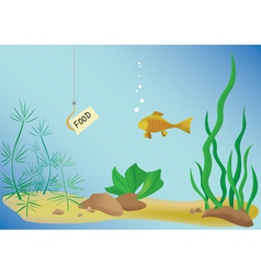 Vector illustration with fish and sea vector