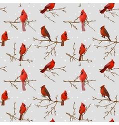 Winter birds retro background vector