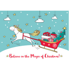 Winter card with cute unicorn and gifts vector
