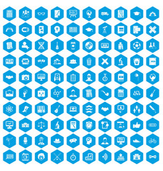 100 student icons set blue vector
