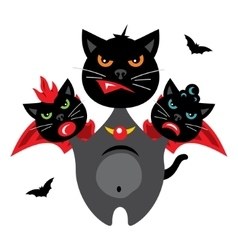 Halloween three-headed dragon cat cartoon vector