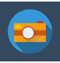 Camera icon with long shadow vector