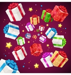 Present boxes background holiday birthday vector