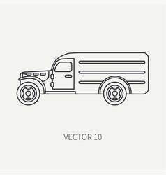 Line flat plain icon service staff army van vector