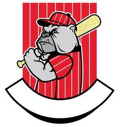 Bulldog baseball player vector