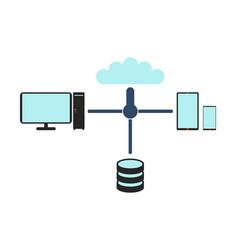 computer network flat vector image