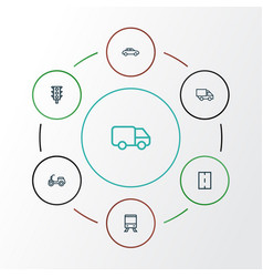 Shipment outline icons set collection of traffic vector