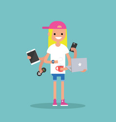 multitasking millennial concept young blond girl vector image