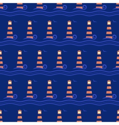 Seamless sea pattern lighthouse with light blue vector