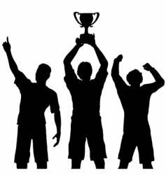 Trophy winners celebrate sports victory vector