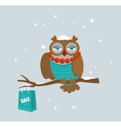 Portrait of fashionable owl on great winter sale vector image