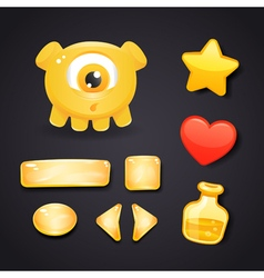 Interface icons for game design with monster vector