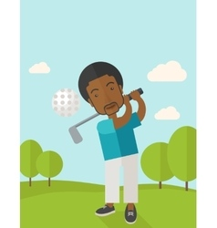 Golf player on field vector