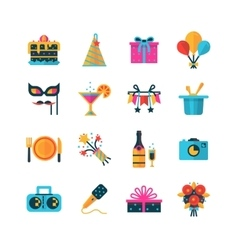 Party color icons set vector