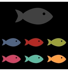 Fish sign on black vector