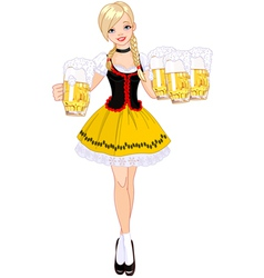 German girl serving beer vector