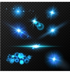 Realistic glow blue light effects lens flare set vector