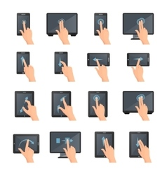 Hand gestures on touch digital devices vector