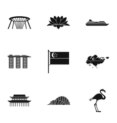 Attractions of Singapore icons set simple style vector image vector image