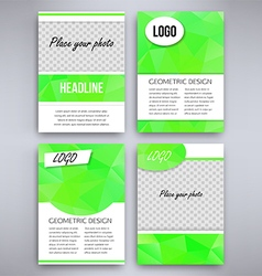 Big set of green triangular design flyer template vector image