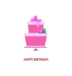Birthday cake with text greetings vector image