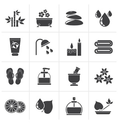 Black Spa and relax objects icons vector image