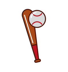 Brightly baseball ball and bat vector
