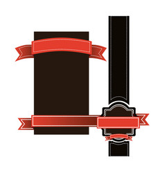 Brown squeres symbols with red ribbons icon vector