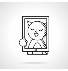 Cat taking selfie line icon vector