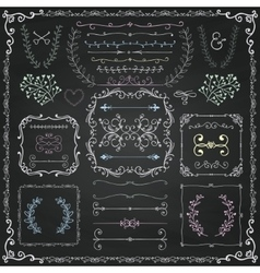 Chalk Drawing Decorative Doodle Design Elements vector image