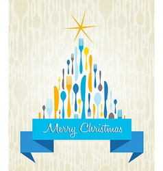 Christmas Tree Cutlery card vector image