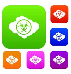 Cloud with biohazard symbol set collection vector
