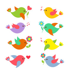 colorful springtime birds with flowers vector image vector image