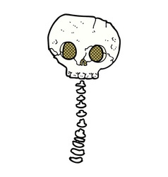 Comic cartoon spooky skull and spine vector