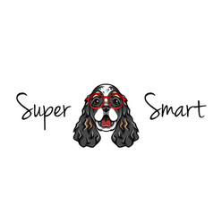 english cocker spaniel in smart glasses geek vector image