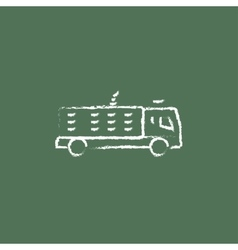 Fire truck icon drawn in chalk vector image