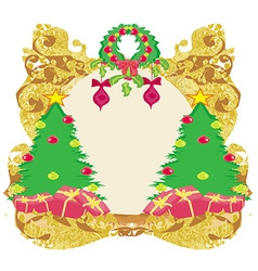 for Xmas and New Year retro design vector image